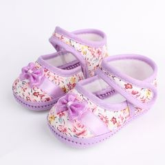 RONI Spring and autumn non-slip baby walking shoes girl soft-sole shoes princess shoes purple 12(11cm)