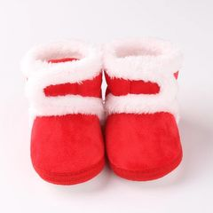 RONI Winter baby girl sweet thick cotton shoes boy warm shoes Anti-Slip shoes Red 13 (11CM)
