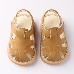 RONI Summer boys fashion sandals baby girl non-slip soft-soled shoes make noise Brown 19(13.5cm)