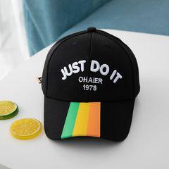 【Promotion】RONI Boy caps kids sunscreen baseball cap  girls sun hats letters baby sun hat Black