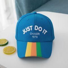 【Promotion】RONI Boy caps kids sunscreen baseball cap  girls sun hats letters baby sun hat blue'