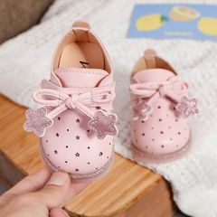 RONI Baby girl princess shoes toddler shoes baby shoes cute leather shoes non-slip girl shoes Pink 19(13.5cm)
