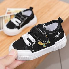 RONI Soft sole baby toddler shoes Baby boy canvas shoes girls non-slip and kick-proof shoes Black 22(14cm)