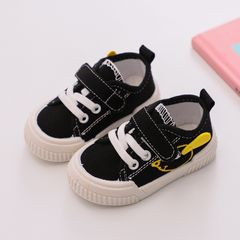 RONI Soft sole baby toddler shoes Baby boy canvas shoes girls non-slip and kick-proof shoes Black 23(14.5cm)