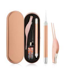 RONI 9PCS Earwax tool set Baby safe light digging ear spoon adult luminous earwax tweezers 1# normal
