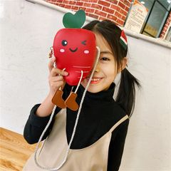RONI Girl creative cute radish handbag kids shoulder messenger bag coin purse wallet girl gift Red 10cm*14cm*5cm