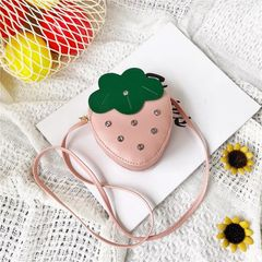 RONI Girls Shoulder Bag Messenger Bag Cute Baby Diamond Strawberry Coin Purse Wallet Gift pink# 12*5*15cm