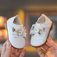 RONI Baby girl princess shoes toddler shoes baby shoes cute leather shoes non-slip girl shoes White 15(11.5cm)