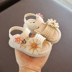 RONI Summer girl sandals glowing walking shoes baby cute flower princess shoes 1# 21(14cm)