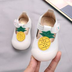 【Promotion】RONI Baby girl princess shoes toddler shoes baby shoes cute PU  shoes non-slip girl shoes White 15(11.5cm)