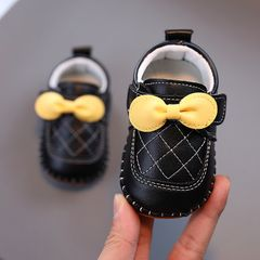RONI Baby girl princess shoes toddler shoes baby shoes cute leather shoes non-slip girl shoes Black 15(11.5cm)
