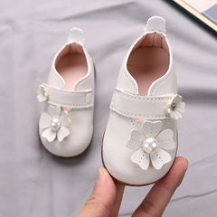 RONI Baby girl princess shoes toddler shoes baby shoes cute PU leather shoes non-slip girl shoes White 15(11.5cm)
