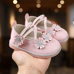 【Promotion】RONI Baby girl princess shoes toddler shoes baby shoes cute PU shoes non-slip girl shoes as the picture 21(13.5cm)