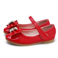 【Promotion】RONI Girls PU leather shoes princess shoes  soft sole casual shoes kids dress Shoes Red 29(18CM)