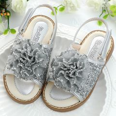【Promotion】RONI Girl  soft-soled sandals baby princess shoes sequined flowers kids  slippers Silver 25(16.2cm)