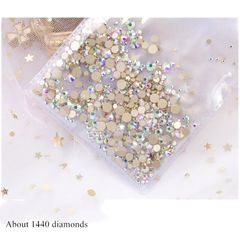 About 1,440 diamonds, nail art accessories, mixed rhinestones color