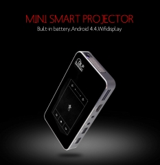 32G Bluetooh DLP Projector,Touch Panel Mini LED Projector with 4200MA Battery