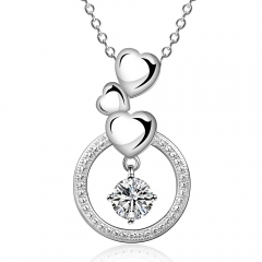 IDM Fashion heart-shaped modelling zircon silver necklace platinum copper