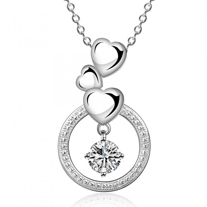 IDM Fashion heart-shaped modelling zircon silver necklace Earrings platinum one size