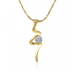 IDM Environmental protection plant  gold pendant N475 zircon necklace gold one size