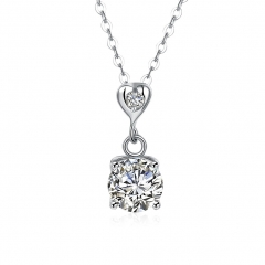 IDM Sterling silver necklace, 925 silver heart-shaped diamond lady's necklace silver one size