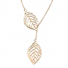 New Women's Necklace Elegant Commuter Leaves Sweater Chain Double Leaf gold one size