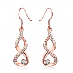 Fashion K gold rose gold simple 8 - shaped row of zircon earrings. rose gold woman