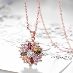 IDM -K gold zircon rose gold fashionable cascade flower lady necklace. colorful woman