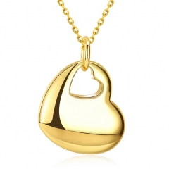 IDM Fashionable K gold two heart shape lady necklace gold alloy
