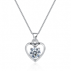 Sterling silver necklace with fashionable zircon necklace with heart shaped heart shaped necklace sterling silver one size