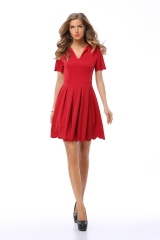ZINC NEW FASHION  dress skirt V collar short sleeved pleated petals ruffled dress Red S