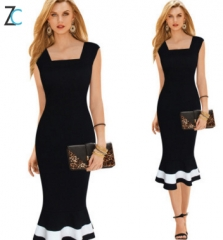 Victoria Women 's sexy dress Tunic Dress Slim Sleeveless Dress fish - tail skirt Black S