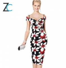 Fashion sexy strapless strapless high waist printed elastic pencil skirt package hip dress printing s