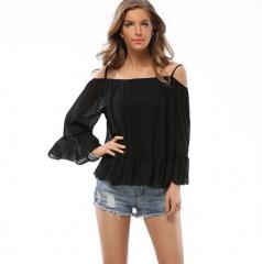 women's long sleeved loose Ruffle chiffon shirt coat Strapless halter top stitching black S