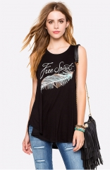 New fashion letters feather printed round neck sleeveless loose T - shirt sling vest female black M