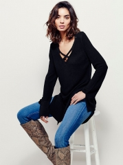 Long-sleeved split in the long section of casual wild bottoming shirt black s
