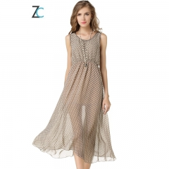 women's new Couture explosion wave waist sleeveless Strapless Chiffon vest dress dots Grey S