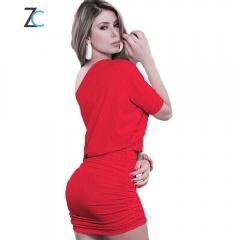 Sexy package hip dress / nightclub shoulder slim collar pencil skirt red S