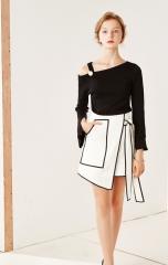 Oblique Shoulder Belt Hooded Sleeve Knit Top black Free
