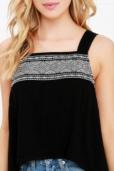 Irregular fashion wild printing vest small vest black s