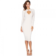 NEW FASHION Long sleeved chest cross open package hip dress white S