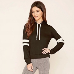 Short paragraph spell color hooded long-sleeved sweater black s
