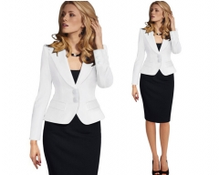 Occupation slim long sleeved jacket suit all-match women's coat White s