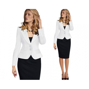 Occupation slim long sleeved jacket suit all-match women's coat White m