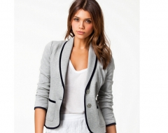 The new fashiion women Slim Slim small suit Lapel Grey s