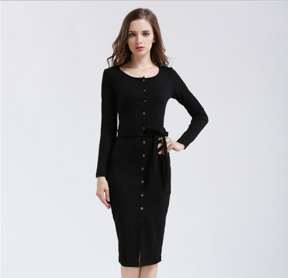 Fashion single - breasted round neck with thin striped dress skirt pencil skirt black l