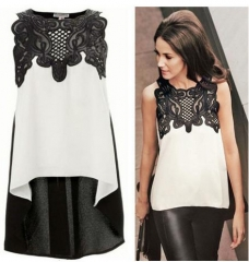 Hollow embroidered chiffon shirt sexy irregular loose sleeveless shirt white s
