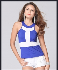 Summer new ebay sell explosive burst vest T - shirt women 's big suit in Europe and America blue s