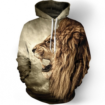 Selling nostalgic lion 3D digital printing hooded sweater leisure wild as the picture l