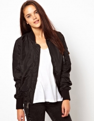 Street wave pure color zipper jacket jacket female explosion models black s